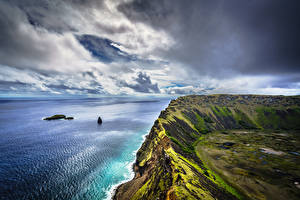 Wallpaper Coast Chile Clouds Cliff Easter Island, Rano Kau Nature