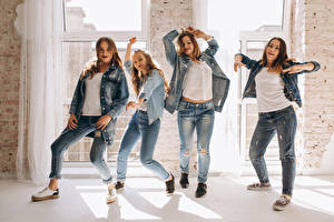 Pictures Dancing Jeans Hands Staring young woman