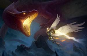 Bilder Drachen Engeln Schlacht Grinsen Fantasy