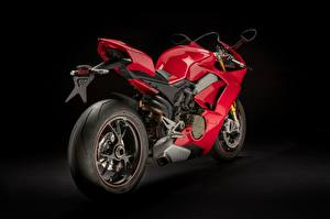 Fotos Ducati Schwarzer Hintergrund Rot Räder Panigale V4 S, 2018