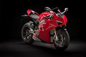 Fotos Ducati Schwarzer Hintergrund Rot Panigale V4 S, 2018