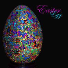 Picture Easter Black background Word - Lettering English Egg Design