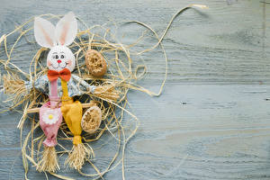 Photo Easter Rabbit Boards Straw Eggs Design Bowknot