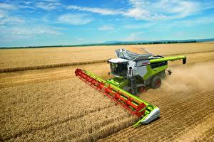 Hintergrundbilder Felder Weizen Mähdrescher Landwirtschaftlichen Maschinen Claas Lexion 8700
