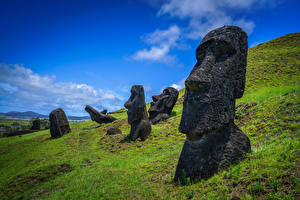 Bilder Figur Steine Chile Ranu Raraku, Easter Island Natur