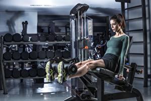 Fotos Fitness Turnhalle Bein Körperliche Aktivität Sport Mädchens