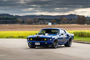 Wallpaper Ford Metallic Blue Mustang, Mach 1, Muscle car, 1969 auto