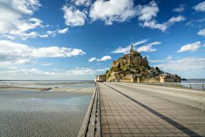 Hintergrundbilder Frankreich Festung Himmel Meer Wolke Le Mont Saint-Michel Natur