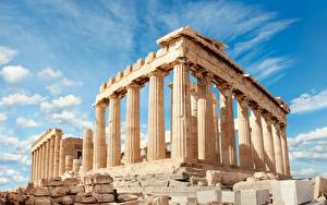 Images Greece Ruins Sky Hill Clouds Columns Acropolis, Parthenon, Athens Cities