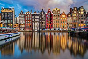 Pictures Building Riverboat Amsterdam Netherlands Canal Reflected Cities