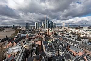 Hintergrundbilder Gebäude Wolkenkratzer Deutschland Von oben Altstadt, Frankfurt am Main, Hesse Städte