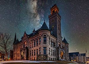 Wallpaper Houses Stars Sky Night Wisconsin, Historic Courthouse, Waukesha