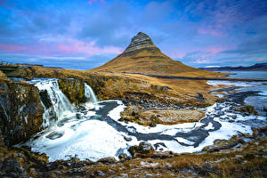 Images Iceland Waterfalls Mountains River Kirkjufell Nature