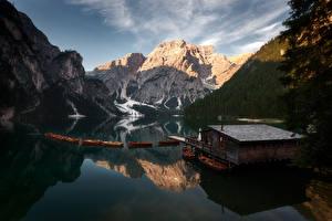 Hintergrundbilder Italien Gebirge Boot See Abend Spiegelt Alpen Lago Braise Natur