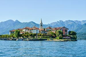 Bilder Italien Berg Insel See Haus Alpen Lake Maggiore, Pescatori Island Natur