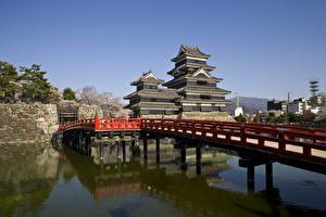 Papel de Parede Desktop Japão Ponte Castelo Nagano, Matsumoto Castle Cidades