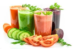 Pictures Juice Tomatoes Cucumbers Smoothie White background Highball glass Sliced food Food