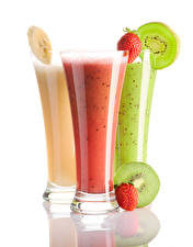 Pictures Chinese gooseberry Strawberry Smoothy White background Three 3 Highball glass