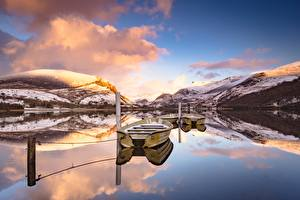 Wallpapers Lake Boats Mountain England Clouds Reflected Nature