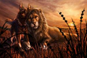 Images Lion Dogs Painting Art