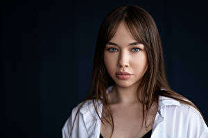 Bilder Braune Haare Starren Haar Gesicht Liza, Kirill Sokolov