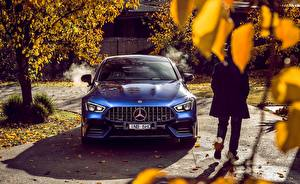 Wallpaper Mercedes-Benz Blue Front 4MATIC 2019 AMG GT 63 S 4 Door automobile
