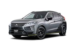 Fotos Mitsubishi Weißer hintergrund Grau Metallisch Softroader Eclipse, Cross, 2019, Street Sport Autos