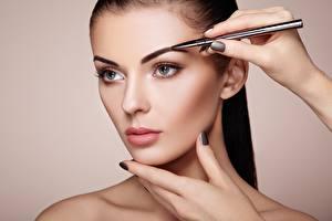 Fotos Model Gesicht Schminke Starren Schöne junge frau