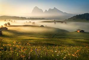 Hintergrundbilder Morgen Gebirge Italien Grünland Nebel Alpen Gras Dolomites
