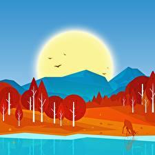 Hintergrundbilder Berg Wald Herbst Vogel See Vektorgrafik Sonne Natur