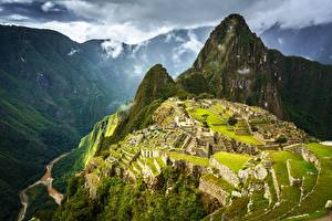 Pictures Mountains Peru Ruins From above Machu Picchu, Urubamba Province Nature