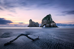 Pictures New Zealand Coast Sunrises and sunsets Crag Beach Wharariki Beach