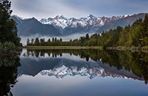 Pictures New Zealand Mountain Lake Morning Reflection Trees Lake Matheson Nature