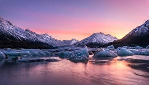 Wallpapers New Zealand Sunrise and sunset Lake Ice Lake Tasman Nature