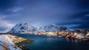 Fotos Norwegen Berg Meer Gebäude Lofoten Schnee
