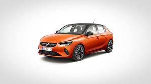 Images Opel Orange Metallic Gray background Corsa, 2020 automobile