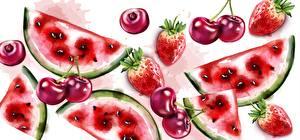Bilder Gezeichnet Wassermelonen Kirsche Erdbeeren Lebensmittel