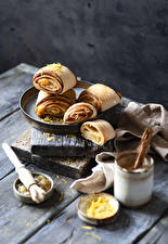 Wallpapers Pastry Buns Wood planks