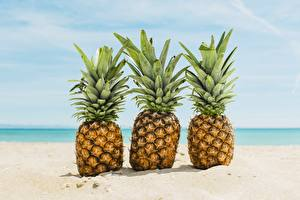 Pictures Pineapples Sand Three 3 Food