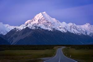Fotos Straße Berg Neuseeland Mount Cook Natur