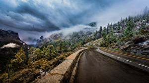 Pictures Roads Mountain USA Landscape photography Clouds Trees Yosemite Fog California Sierra Nevada Nature