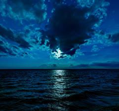 Fotos Meer Himmel Nacht Wolke Mond Horizont