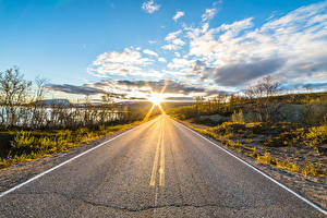 Pictures Sky Roads Morning Lapland region Finland Clouds Sun Asphalt  Nature