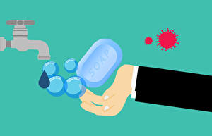 Image Soap Water Vector Graphics Coronavirus Colored background Hands Tap VIRUS WASH HANDS!
