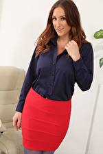 Images Stacey Poole Secretaries Brown haired Glance Hands Skirt