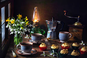 Pictures Still-life Galanthus Narcissus Paraffin lamp Kettle Coffee Coffee mill Little cakes Cup Flowers
