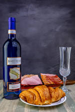 Wallpapers Still-life Wine Croissant Ham Bottle Shot glass Food