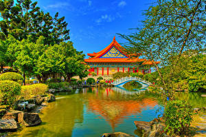 Bilder Taiwan Parks Teich Pagoden Brücke HDR Bäume Chiang Kai-shek Memorial Taipei