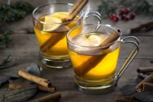 Fotos Tee Zitrone Zimt Becher Lebensmittel