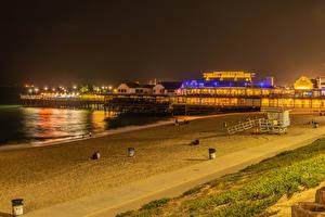Hintergrundbilder Vereinigte Staaten Küste Gebäude Bootssteg Kalifornien Nacht Strände Redondo Beach Natur